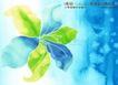 水彩背景及其花纹0079,水彩背景及其花纹,人物,唯美水彩画 蓝绿花瓣 雪花落下