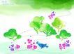 水彩背景及其花纹0084,水彩背景及其花纹,人物,春色 小鸟 绿色
