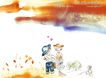 水彩背景及其花纹0088,水彩背景及其花纹,人物,童年 玩耍 伙伴