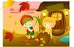 田园玩耍0013,田园玩耍,人物,小屋外 扫地 扫帚 金黄落叶 温馨灯光