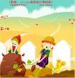 田园玩耍0016,田园玩耍,人物,山坡 拔萝卜