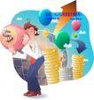 男性商业插画0026,男性商业插画,人物,气球 方向 大楼