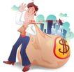 男性商业插画0042,男性商业插画,人物,财富 利润 拖行
