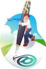 男性商业插画0049,男性商业插画,人物,怀抱 钢笔 书写