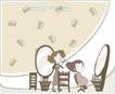 简单生活插画0047,简单生活插画,人物,椭圆 镜子 明亮