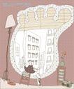 简单生活插画0052,简单生活插画,人物,脚印 收音机 百叶窗