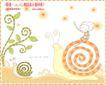 简单生活插画0070,简单生活插画,人物,蜗牛 树枝 儿童