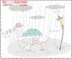 简单生活插画0080,简单生活插画,人物,雨季到来 撑伞 雨花