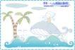 简单生活插画0100,简单生活插画,人物,鲨鱼 海面 漫画