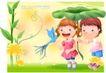 精品儿童与风景0004,精品儿童与风景,人物,手举 荷叶 遮阳