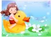 精品儿童与风景0008,精品儿童与风景,人物,跨骑 黄小鸭 花池