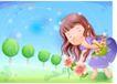 精品儿童与风景0011,精品儿童与风景,人物,春天到 摘花 可爱女孩