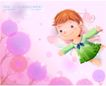 精品儿童与风景0013,精品儿童与风景,人物,梦幻童年 粉色翅膀 飞翔 绿衣裳