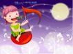 精品儿童与风景0014,精品儿童与风景,人物,短发儿童 大音符 麦克风 圆月