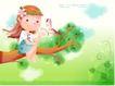 精品儿童与风景0015,精品儿童与风景,人物,坐在树枝上 花环 美丽蝴蝶 粉蓝云朵