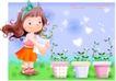 精品儿童与风景0020,精品儿童与风景,人物,盆栽 抱起花盆 绿苗