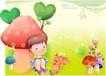 精品儿童与风景0029,精品儿童与风景,人物,蘑菇 书本 儿童画