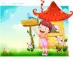精品儿童与风景0044,精品儿童与风景,人物,红色 屋顶 坚牌