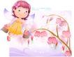 精品儿童与风景0047,精品儿童与风景,人物,花仙子 双手 提花