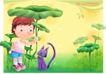 精品儿童与风景0048,精品儿童与风景,人物,荷叶 小猫 陪伴