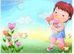 精品儿童与风景0049,精品儿童与风景,人物,手捧 花簇 漫步