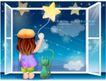 精品儿童与风景0053,精品儿童与风景,人物,窗台 小猫 星星
