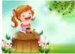 精品儿童与风景0055,精品儿童与风景,人物,树桩 小辫子 野花
