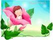 精品儿童与风景0058,精品儿童与风景,人物,喇叭花 花朵中 童年