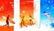 精品花纹图藤0192,精品花纹图藤,人物,招手 女孩 跳水