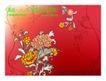 精品花纹图藤0224,精品花纹图藤,人物,红底 花朵 开放