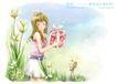 精美风景与人物0014,精美风景与人物,人物,甜美季节 手捧礼盒 披发女孩 短裙