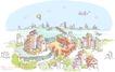 线条城市风景0011,线条城市风景,人物,城市缩影 忙碌都市 飞机飞过