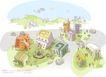 线条城市风景0023,线条城市风景,人物,交通 楼房 建筑