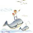 线条风商务故事0047,线条风商务故事,人物,站立 鲸鱼 背上