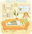 线条风女孩生活0002,线条风女孩生活,人物,坐靠 沙发 读书