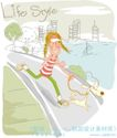 线条风女孩生活0005,线条风女孩生活,人物,奔跑 晨练 带狗