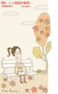 线条风情侣生活0002,线条风情侣生活,人物,公园 长椅 落叶