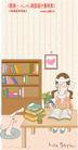 线条风情侣生活0014,线条风情侣生活,人物,书房 大书柜 用功的女孩 书桌 搞学习