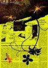 绚彩花纹背景0012,绚彩花纹背景,人物,书籍一页 黑色花藤 黄底