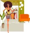 美女时尚生活0015,美女时尚生活,人物,圆形帽子 优雅站姿 腰带 黄色沙发