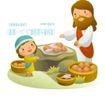 耶稣儿童0014,耶稣儿童,人物,大胡子耶稣 圆帽 鸡蛋 筐子 小鱼