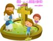 耶稣儿童0015,耶稣儿童,人物,十字架 绿藤蔓 浇花 开心笑容