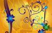 花纹运动0075,花纹运动,人物,对比色泽 金色底色 紫色藤蔓
