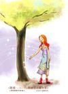 花纹风景0002,花纹风景,人物,黄色 树冠 底下