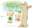 豆豆娃娃0006,豆豆娃娃,人物,荡秋千 横长 树枝