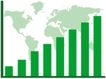 数据指数表0093,数据指数表,金融,世界地图 绿色数据线 柱形图表