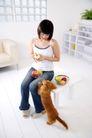 女性宠物0072,女性宠物,生活方式,削苹果 喂狗 趴腿