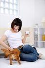 女性宠物0074,女性宠物,生活方式,歪坐 抚摸 狗背