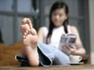 女性居家休闲0052,女性居家休闲,生活方式,咖啡 杯子 赤脚