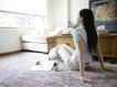 女性居家休闲0057,女性居家休闲,生活方式,客厅 家居 窗户